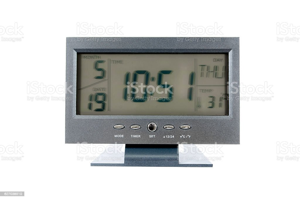 Digital alarm clock in television style isolated on white background stock photo