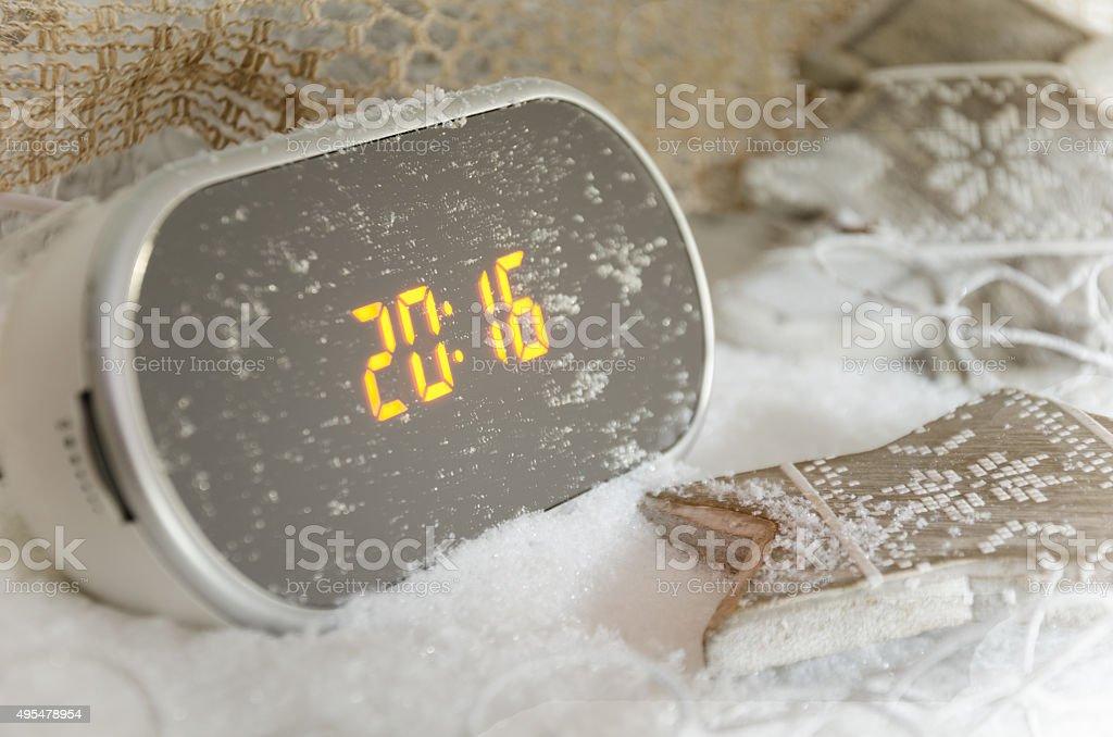 Digital alarm clock with 2016 new year stock photo