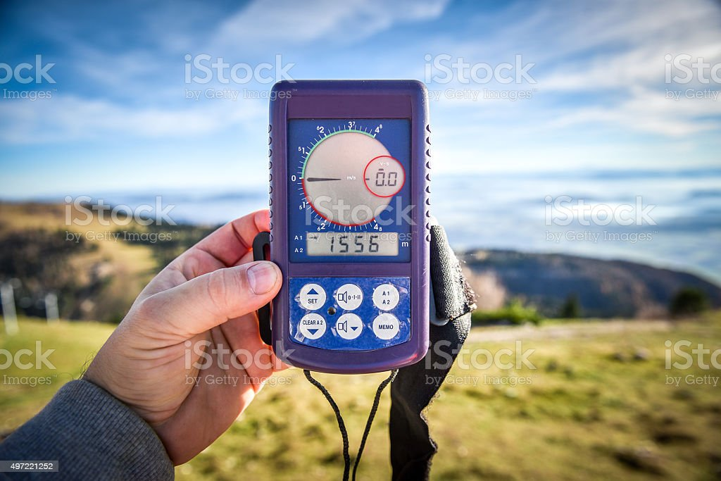 Digital altimeter for paragliding or parachute stock photo