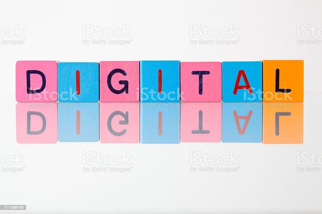 Digital - an inscription from children's  blocks stock photo