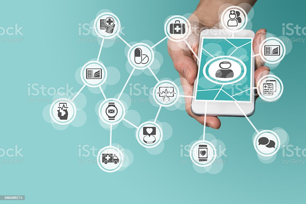 Digital and mobile healthcare concept with hand holding smart phone stock photo