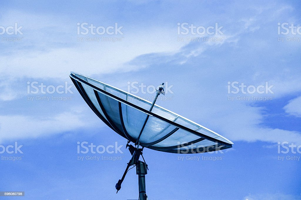 Digital Antenna with Blue sky. stock photo