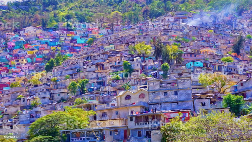 Digital art, Housing stacked up a hillside in Port-Au-Prince, Haiti stock photo