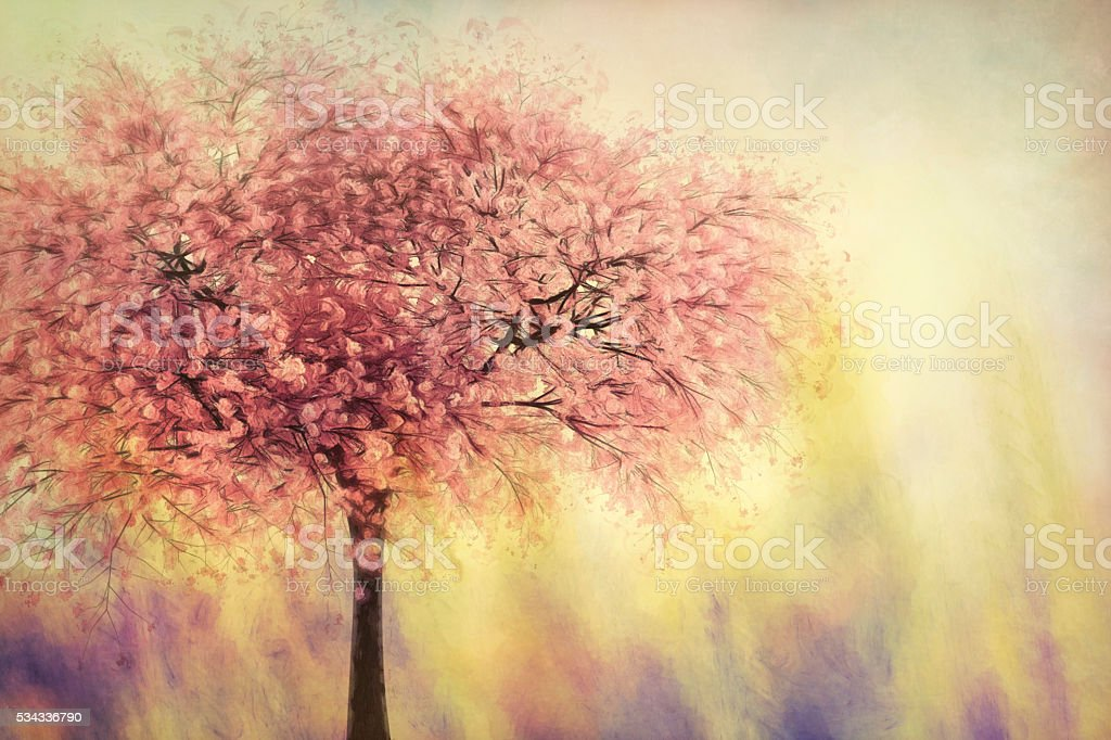 Digital art, paint effect textured, cherry blossom tree stock photo