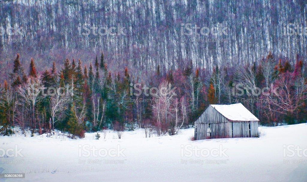 Digital art, paint effect winter scenery, old barn in forest stock photo