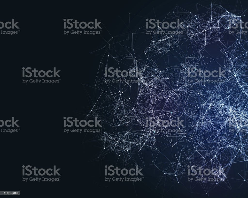 Digital background with cybernetic particles stock photo