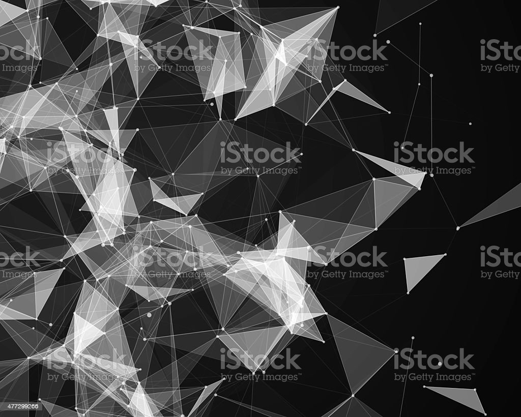 Digital background with geometric particles stock photo