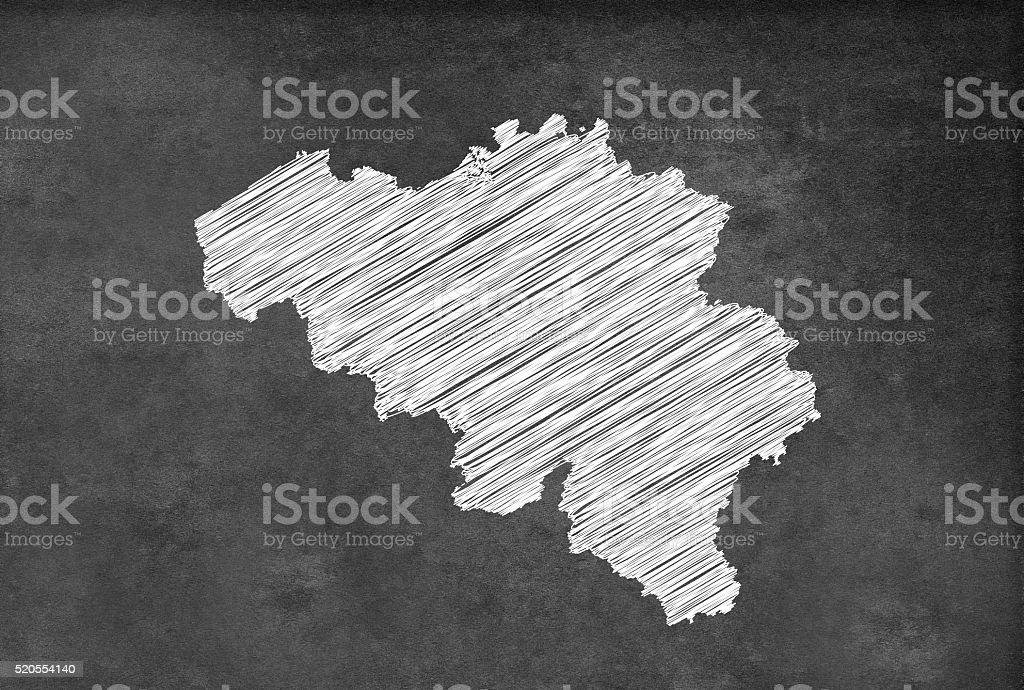 Digital Belgian map on a blackboard stock photo