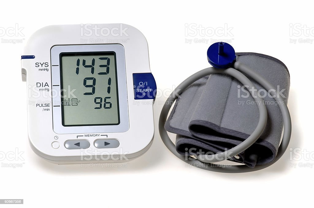 Digital blood pressure monitor displaying a high measure royalty-free stock photo