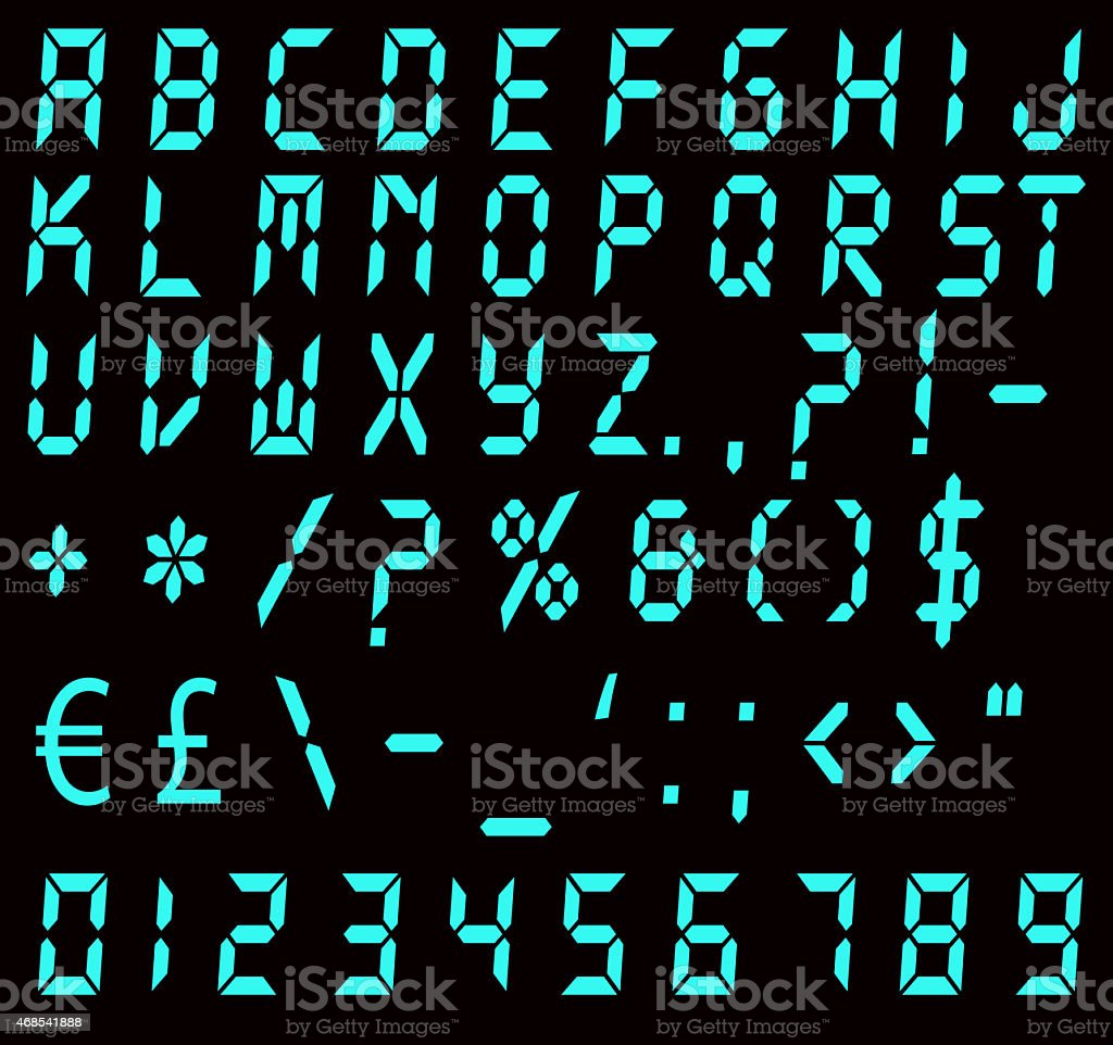 Digital Blue Alarm Font stock photo