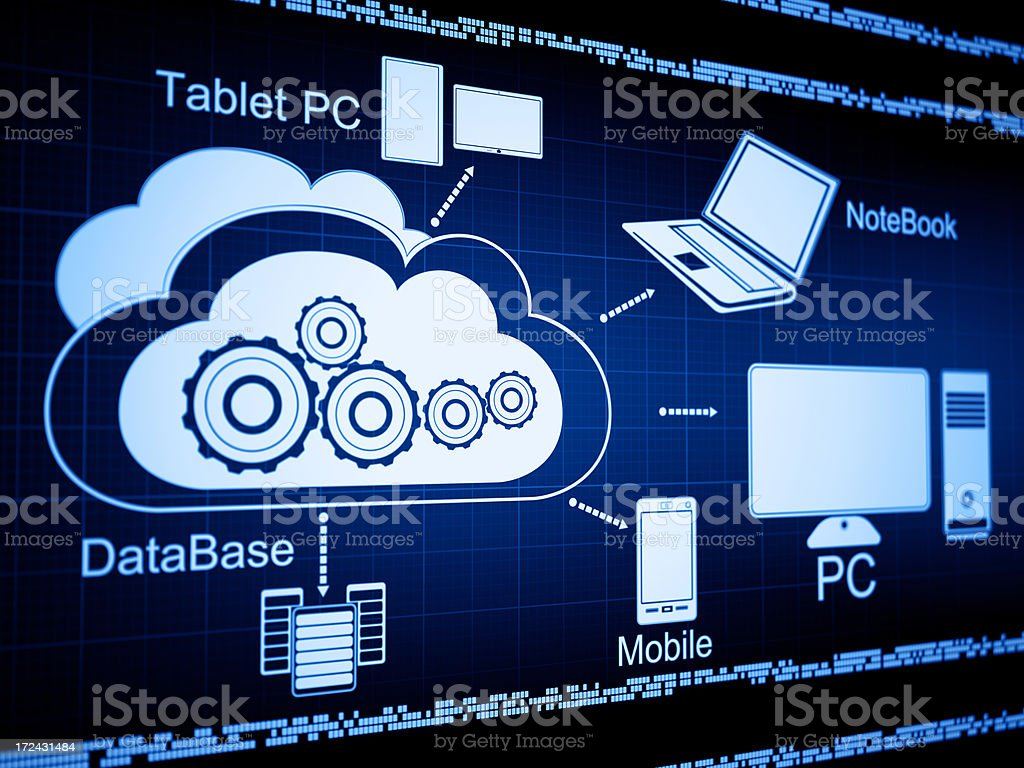 Digital blue background with cloud computing icons and text stock photo