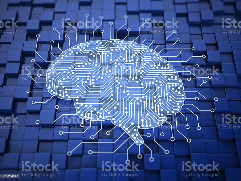 Digital brain stock photo