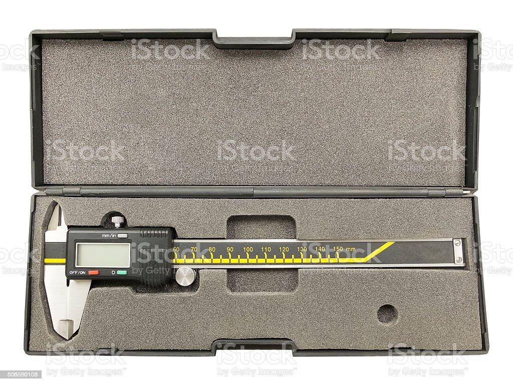 Digital calliper in plastic box stock photo