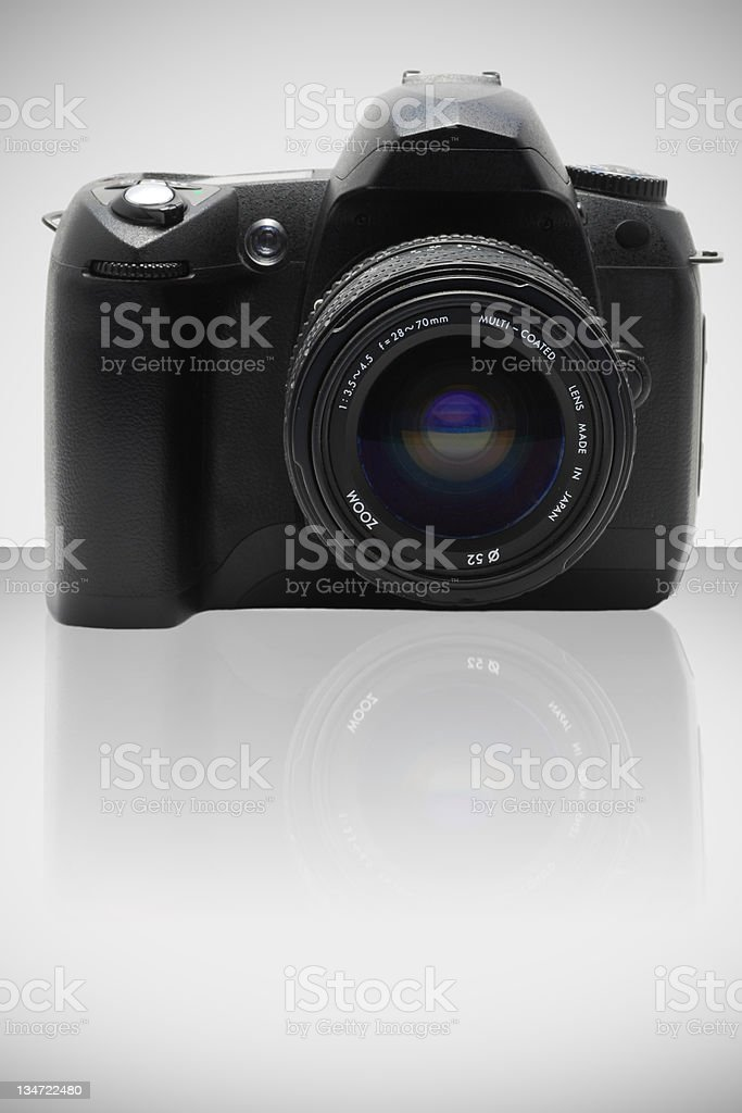 Digital camera and lens front stock photo