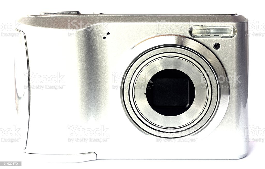 Digital camera isolated on white background stock photo