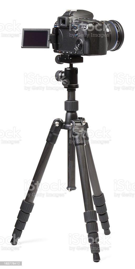 Digital camera on tripod stock photo