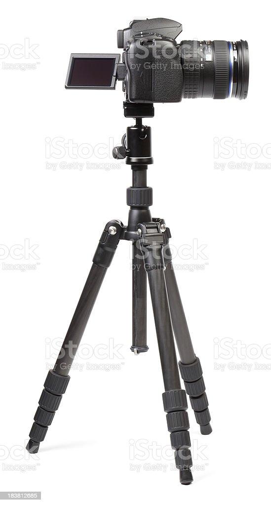 Digital camera on tripod royalty-free stock photo