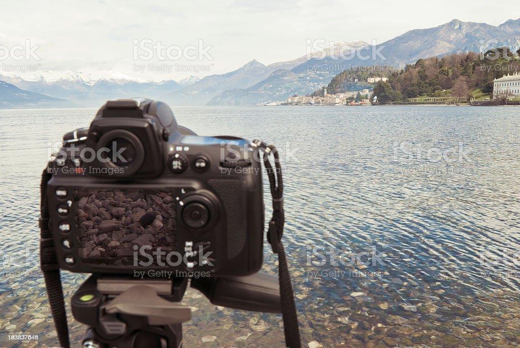 Digital Camera Standing In Front Of Bellagio, Lake Como stock photo