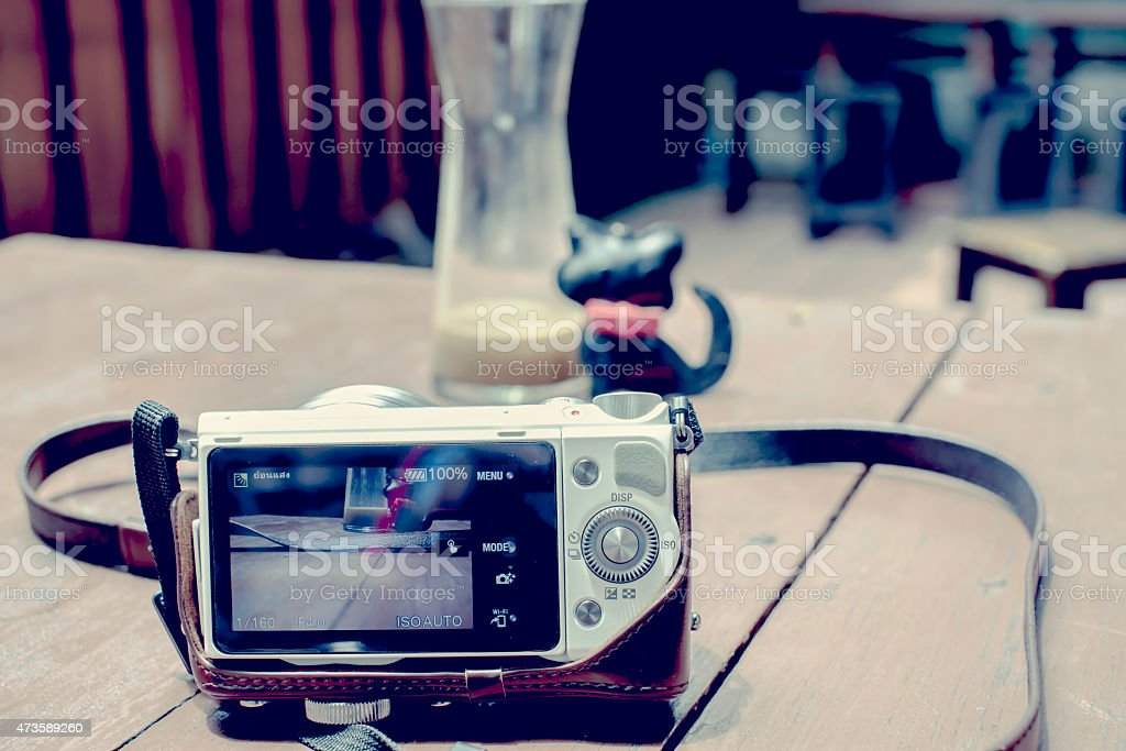 Digital Camera taking photograph on Table royalty-free stock photo