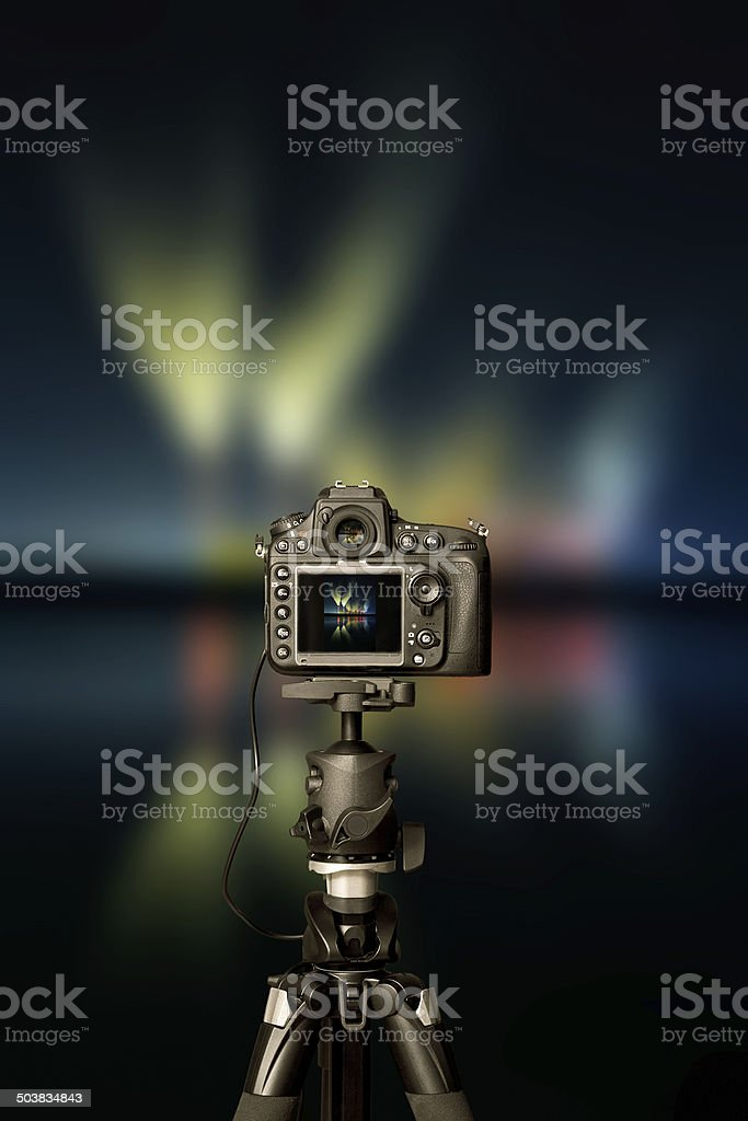 Digital camera the night view stock photo