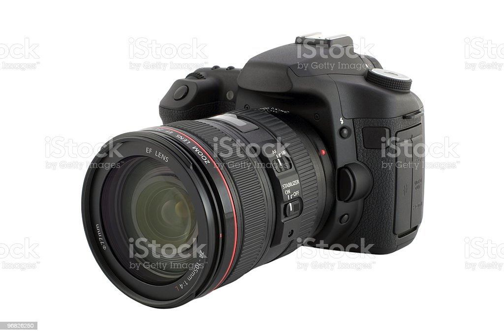 Digital camera with clipping path. stock photo