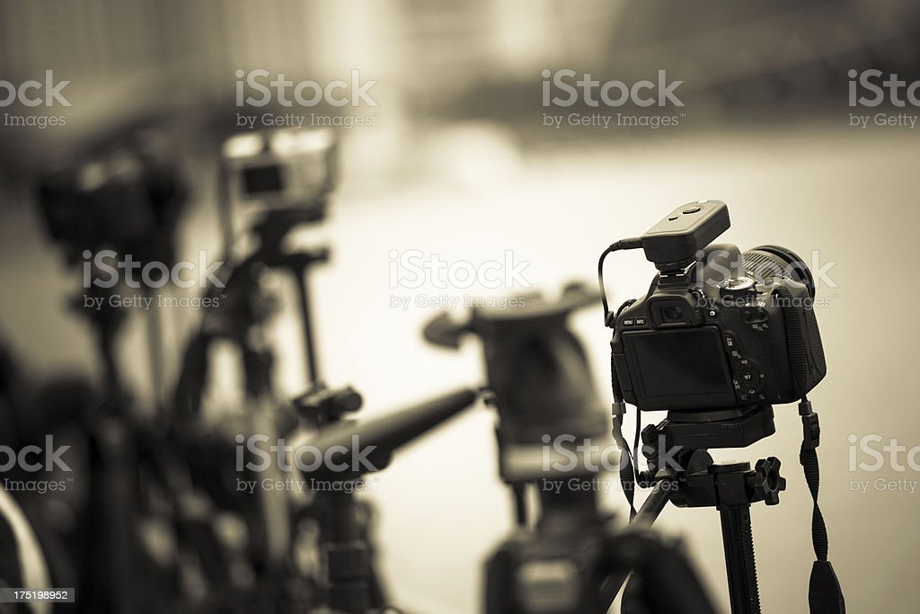 Digital Cameras on Tripods, Black and White stock photo