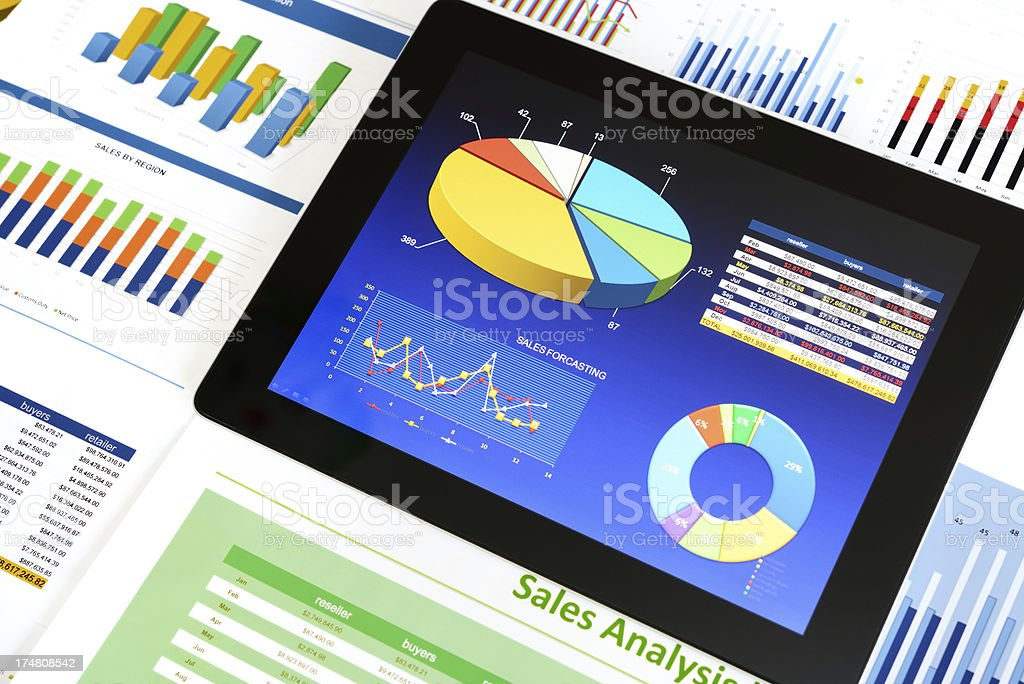 Digital chart background stock photo