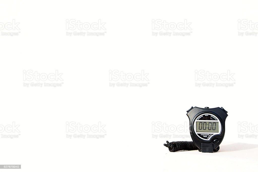 digital chronometer on white background stock photo