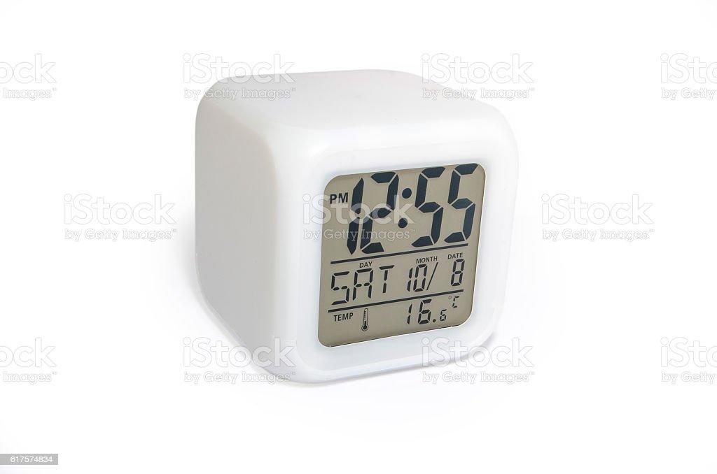 Digital clock white isolated royalty-free stock photo