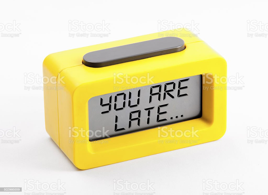digital clock with late message royalty-free stock photo