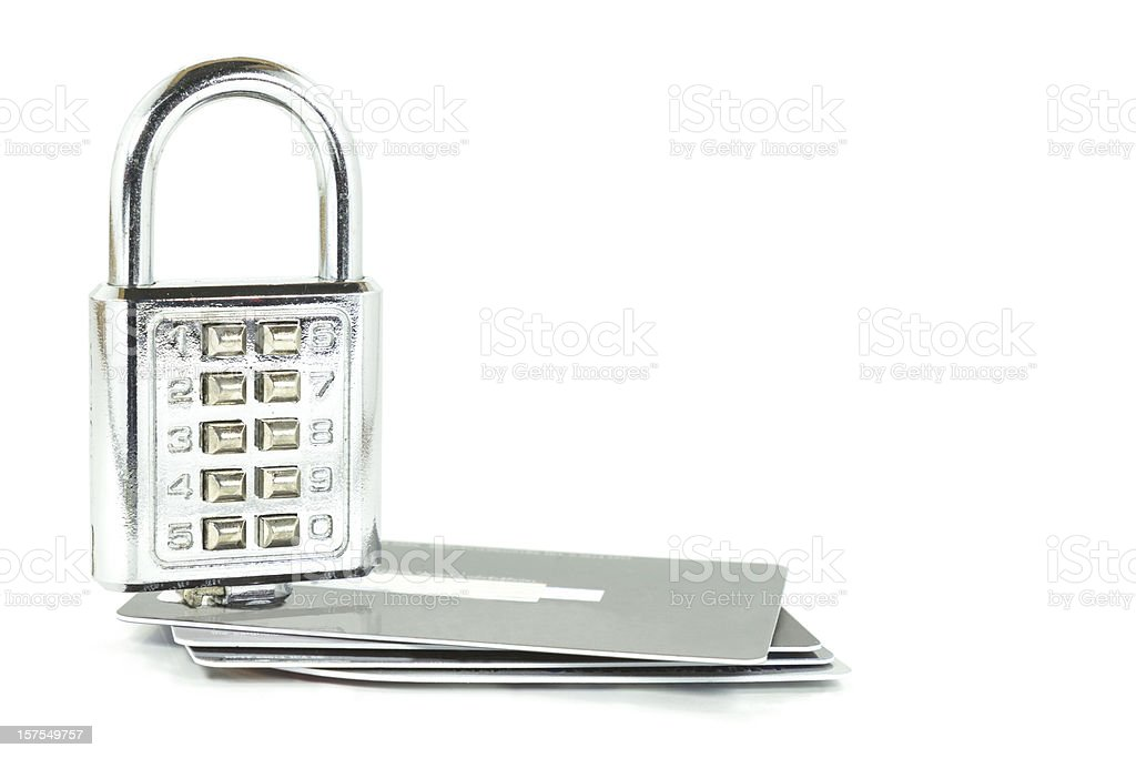 Digital combination lock on credit cards isolated royalty-free stock photo