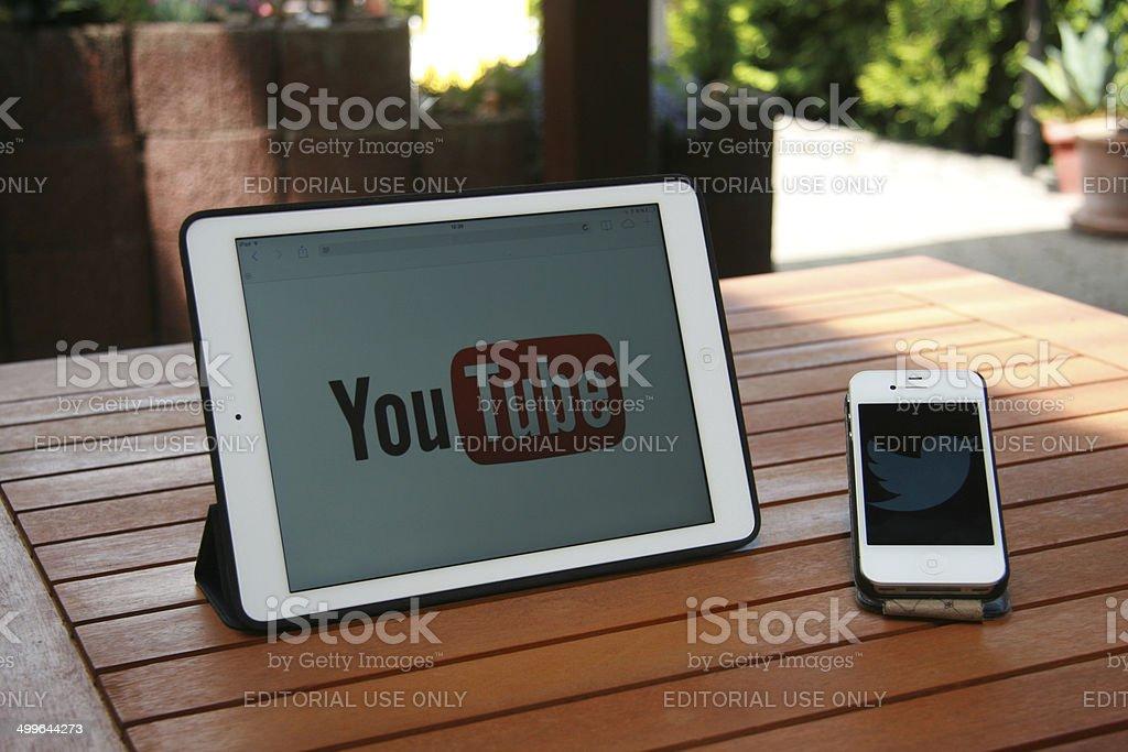 digital communication at home stock photo