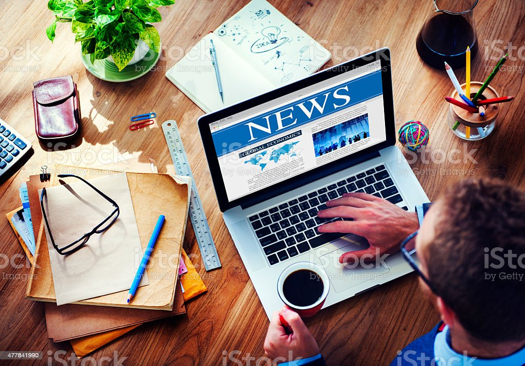 Digital Communication Connecting Searching News Concept stock photo