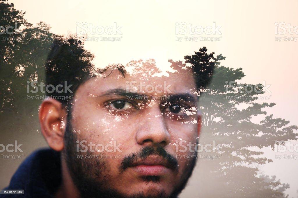 Digital composite men portrait in the nature stock photo