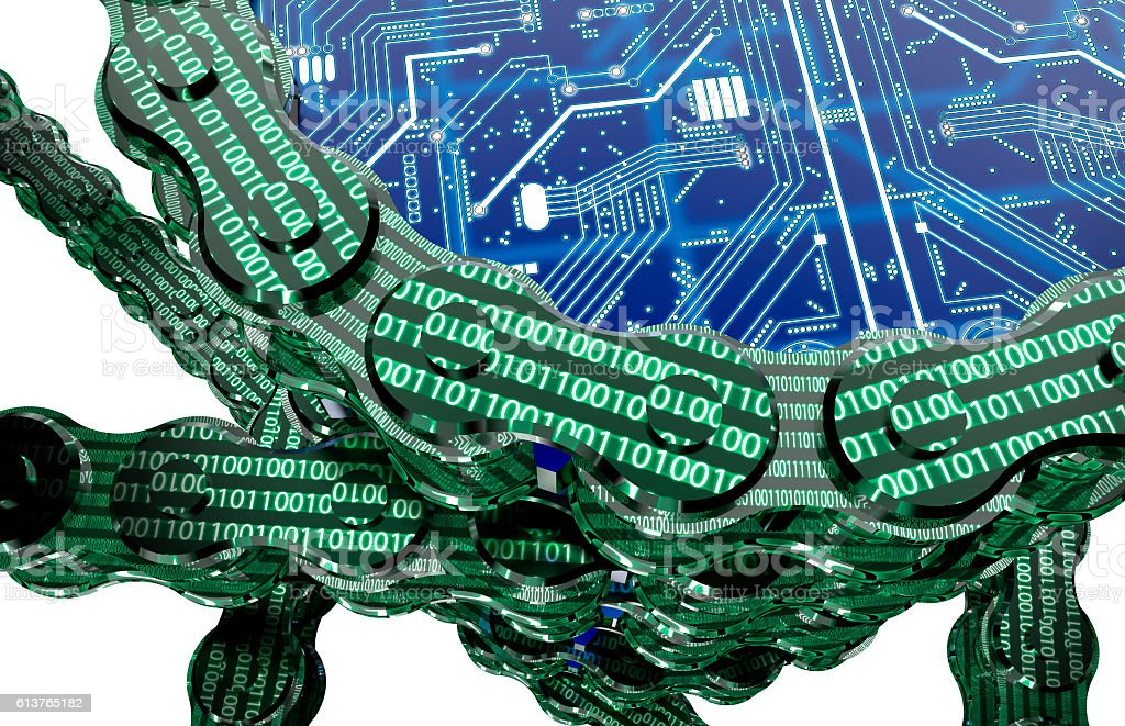 digital computer blockchain isolated on white stock photo