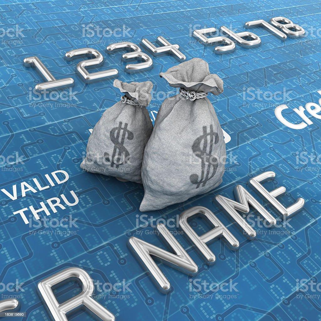 digital credit card and dollar bags royalty-free stock photo