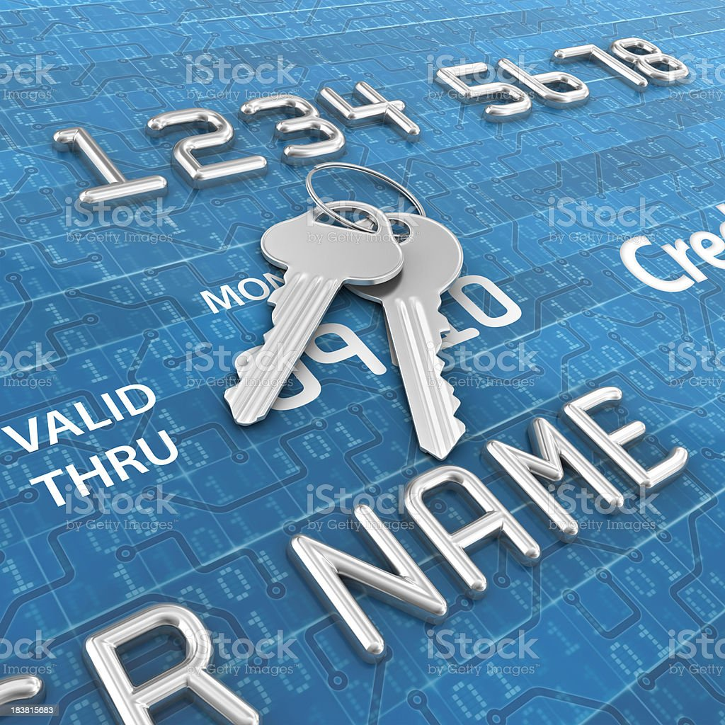 digital credit card and keys royalty-free stock photo