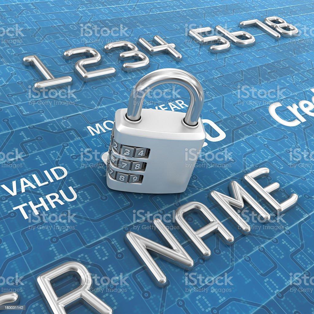 digital credit card and padlock royalty-free stock photo