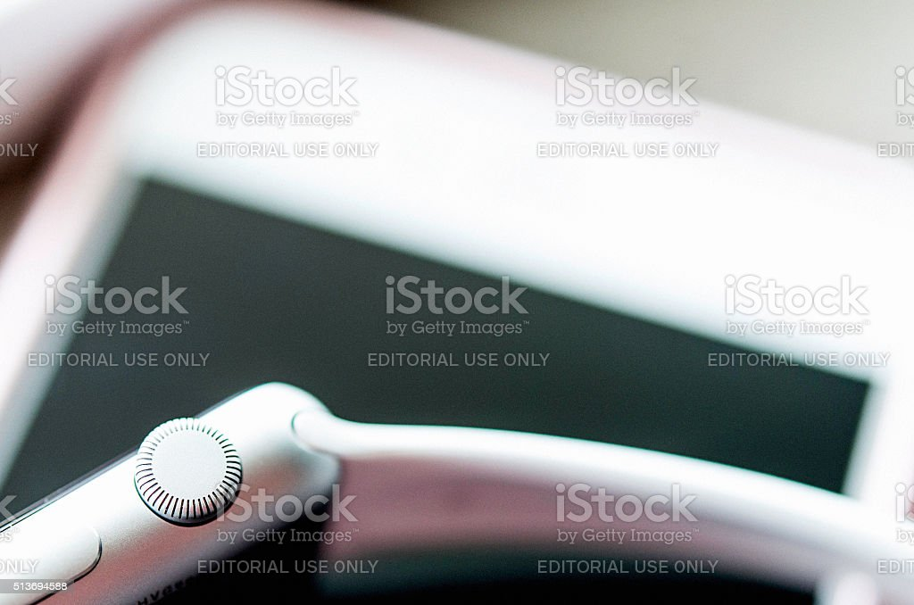 Digital crown on Apple watch stock photo