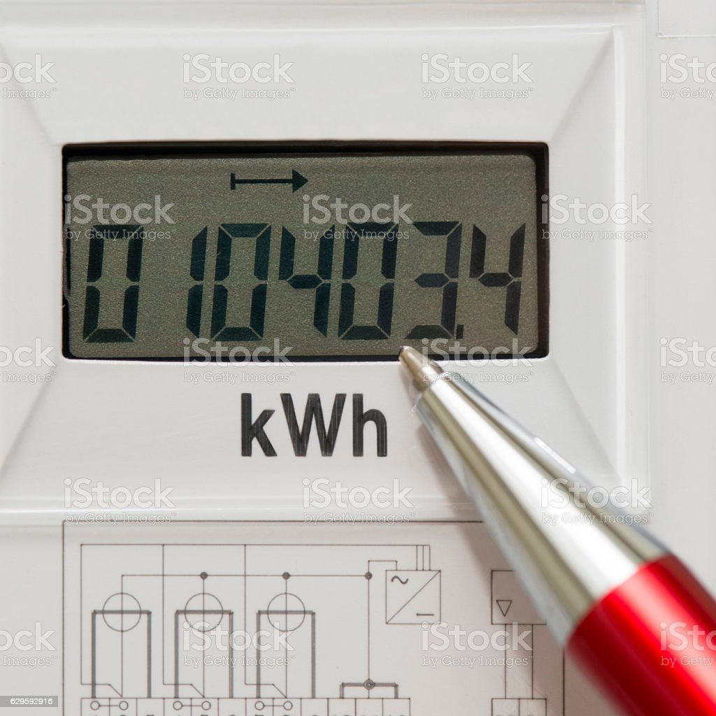 Digital current counter stock photo