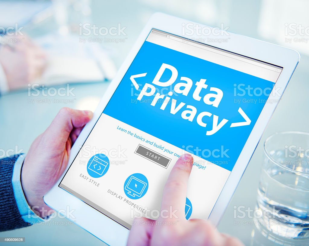 Digital Data Privacy Protection Searching Concept stock photo