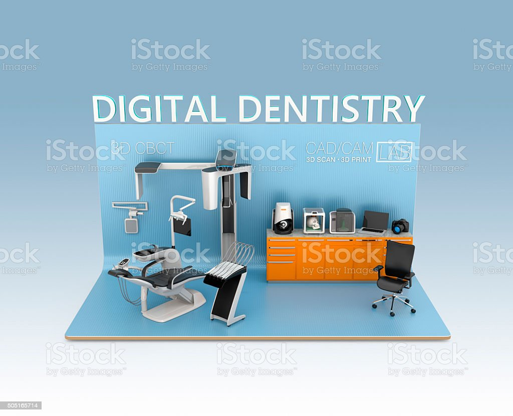 Digital dentistry concept.3D rendering image with clipping path stock photo
