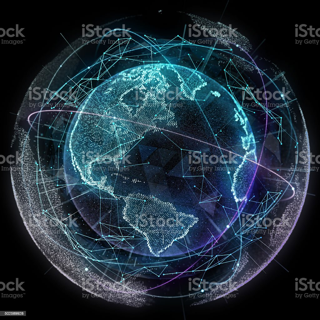 Digital design of a global network stock photo