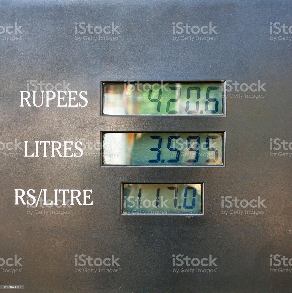 Digital Display of Fuel Pump in Sri Lanka stock photo
