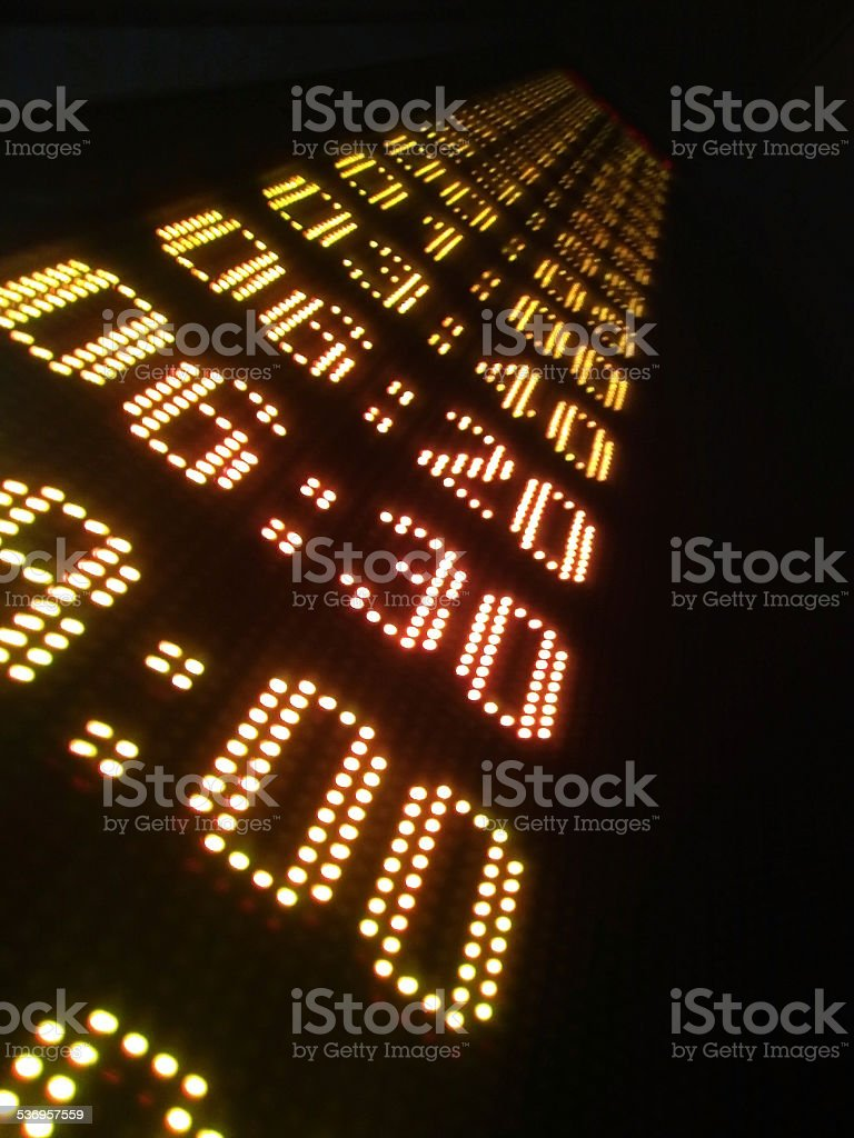 Digital display show the hours of a schedule stock photo