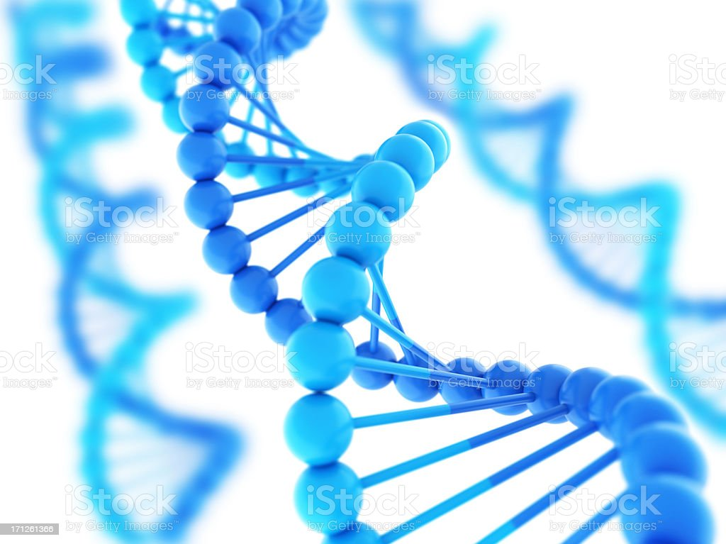 Digital DNA strands in varying shades of blue stock photo