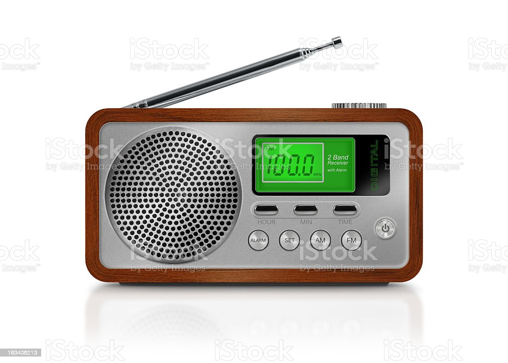 Digital drawing of a portable radio on white background stock photo