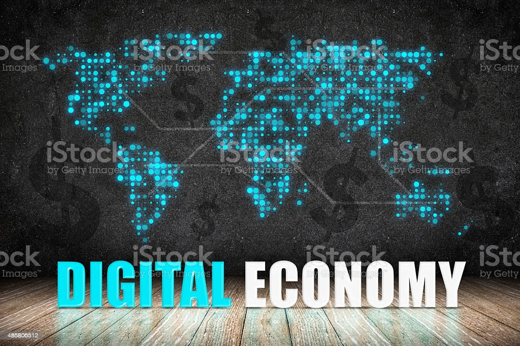 Digital Economy word on wood floor with dollar sign stock photo