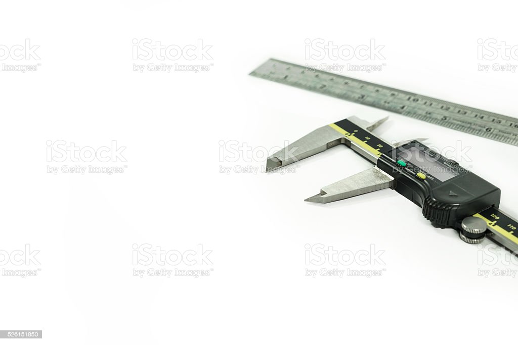 Digital Electronic Vernier Caliper and ruler, isolated on white stock photo