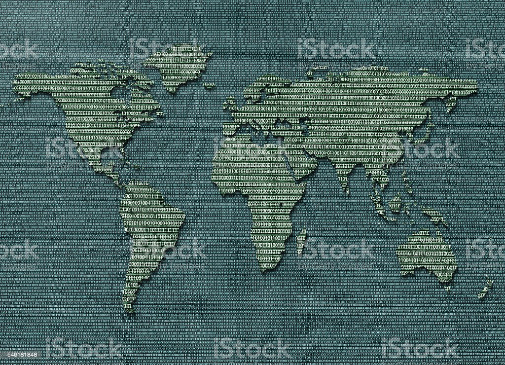 digital electronic world map isolated stock photo